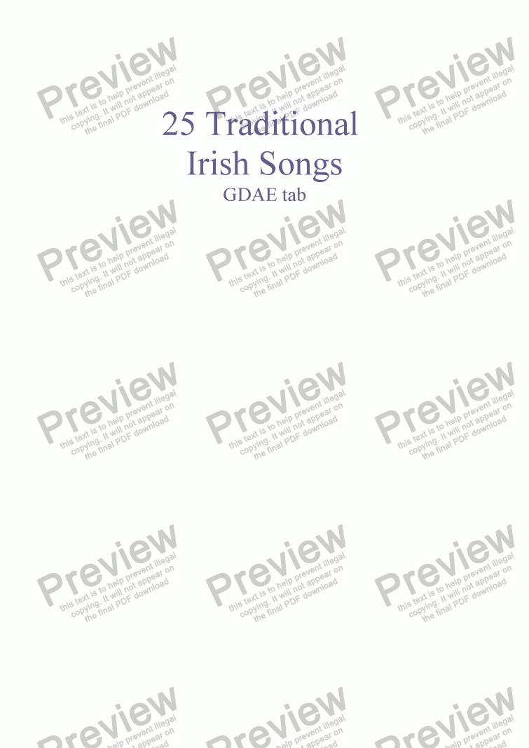 25 Traditional Irish Songs Mandolin GDAE tab version for Solo instrument  (Mandolin [tab]) by trad  - Sheet Music PDF file to download