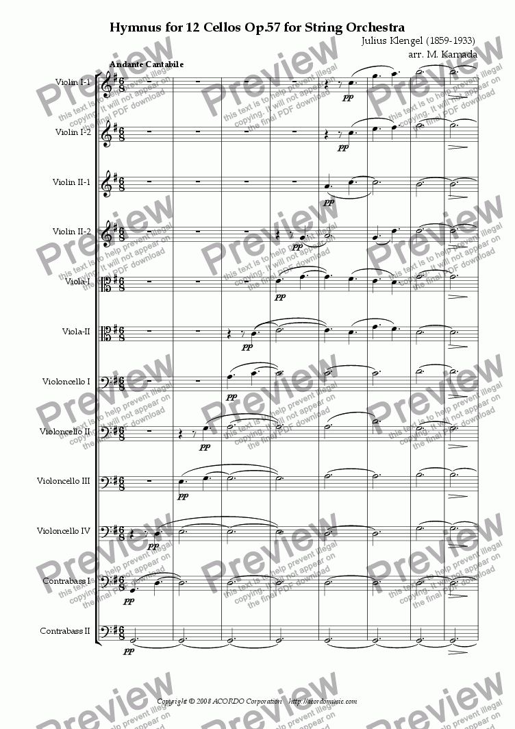 page one of Hymnus for String Orchestra, Op.57