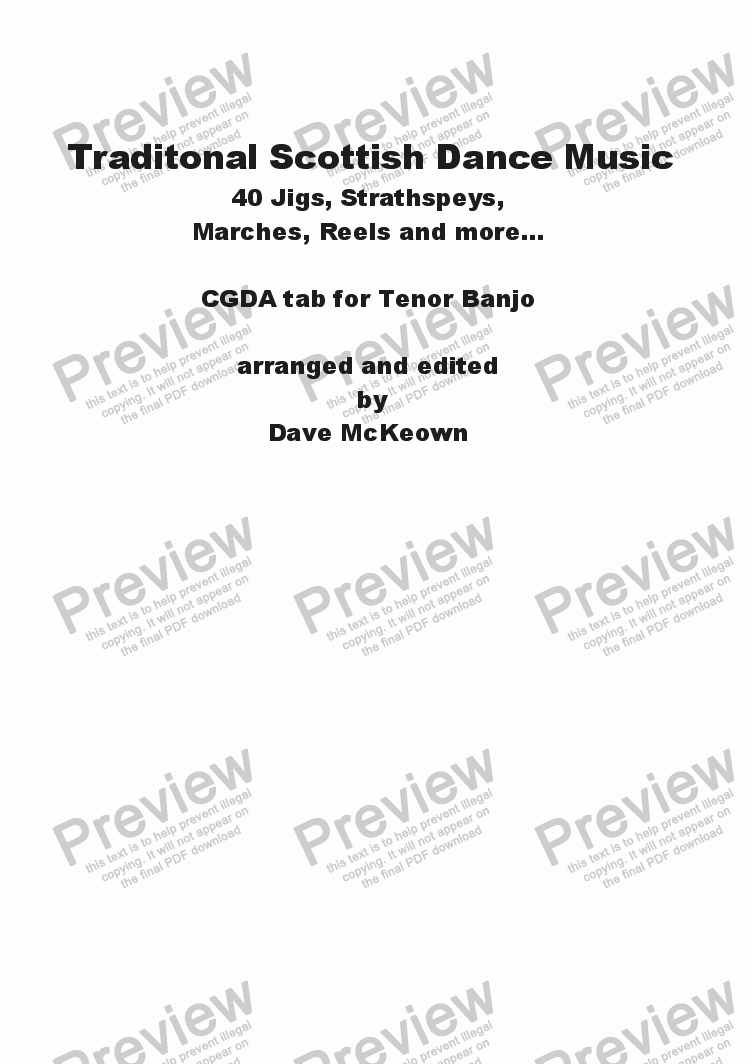 page one of Traditional Scottish Dance Music, CGDA tab for Banjo, 40 Jigs, Strathspeys and more...