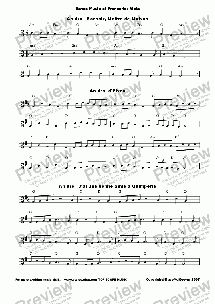 page one of Traditional French Dance Music for Viola, 60 Bourees,Polkas and more...