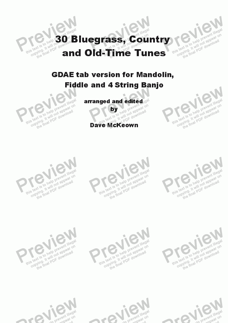 page one of 30 Bluegrass and Country Tunes GDAE tab for Mandolin and 4 String Banjo
