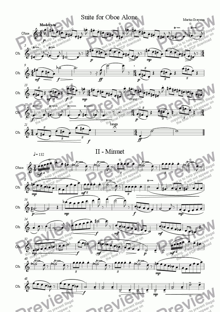 page one of Suite for Oboe Alone