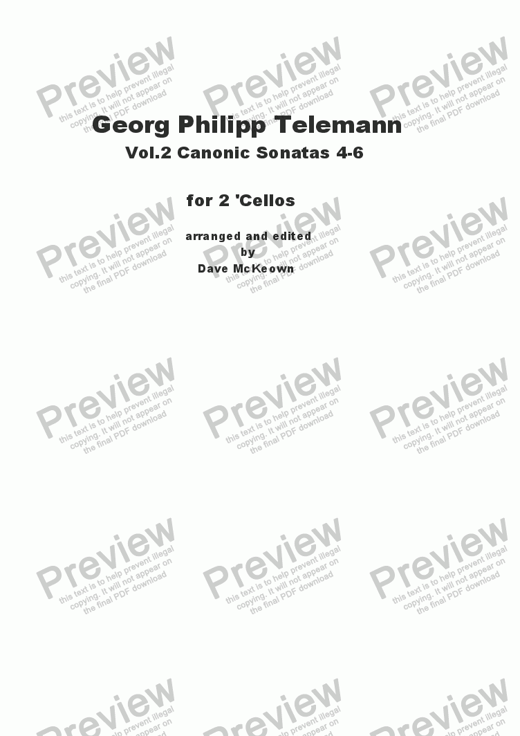page one of Telemann Canonic Sonatas Vol.2 for 'Cello