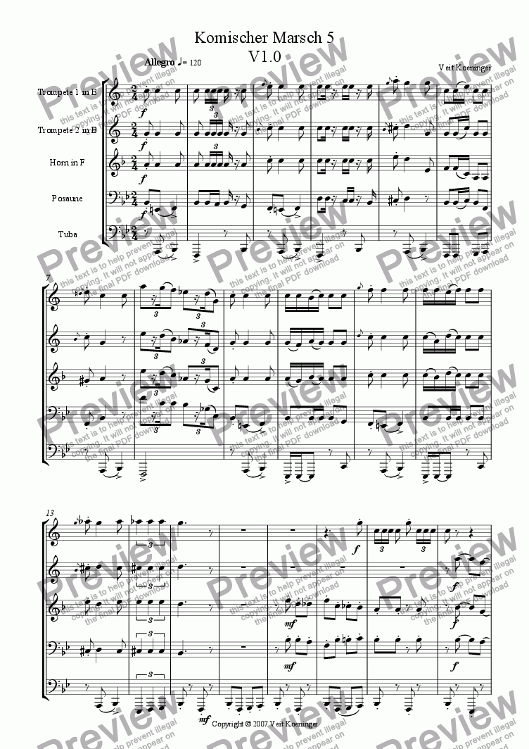 page one of Comical march 5 for brass quintet