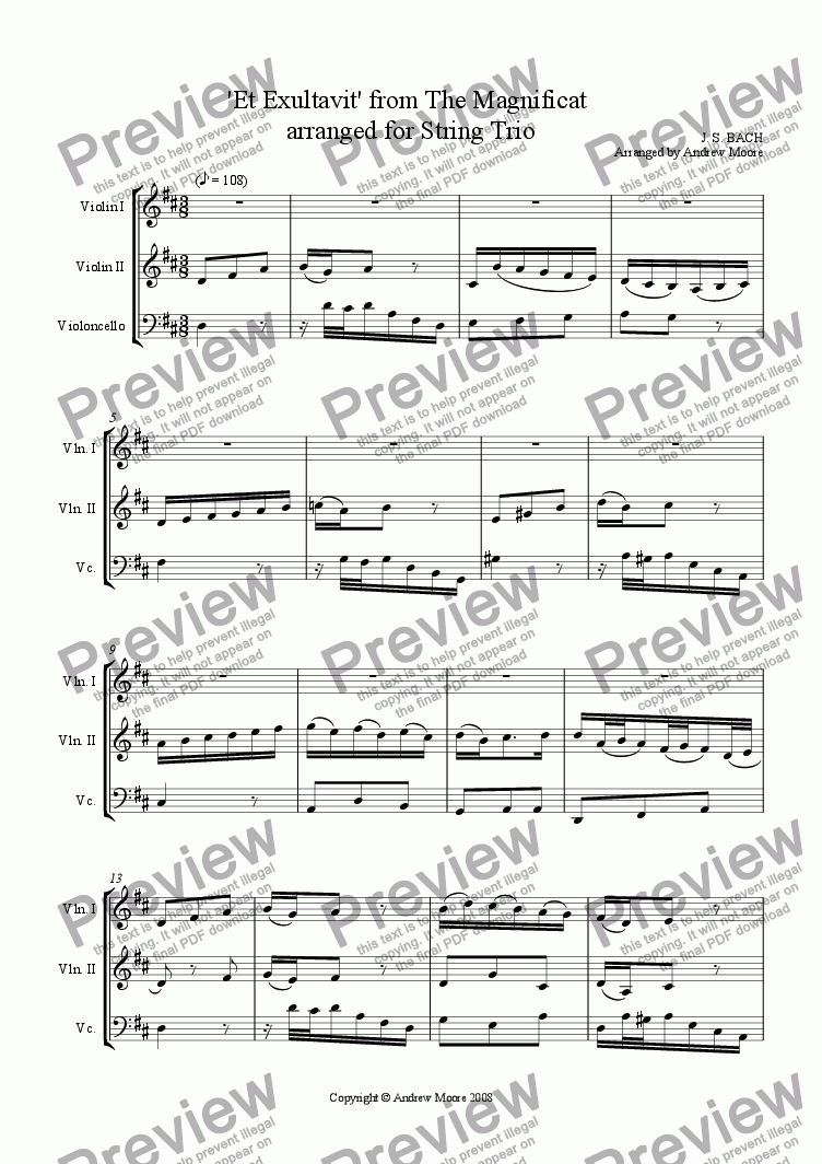 page one of 'Et Exultavit' from the Magnificat for String Trio (2 Violins & Cello)