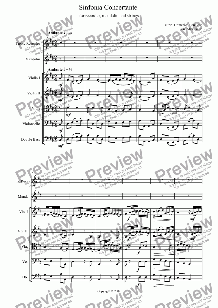 page one of Sinfonia Concertante - attrib. Domenico Caudioso (arr. Alex Tinlin)