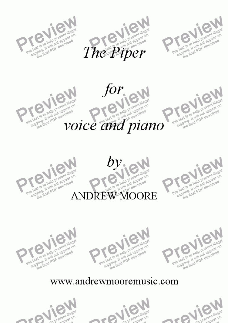 page one of 'The Piper' for voice and piano