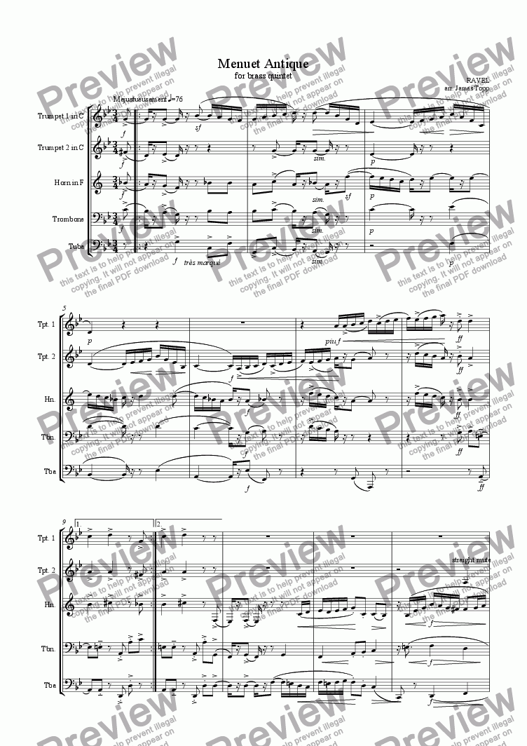 page one of Menuet Antique (for brass quintet)