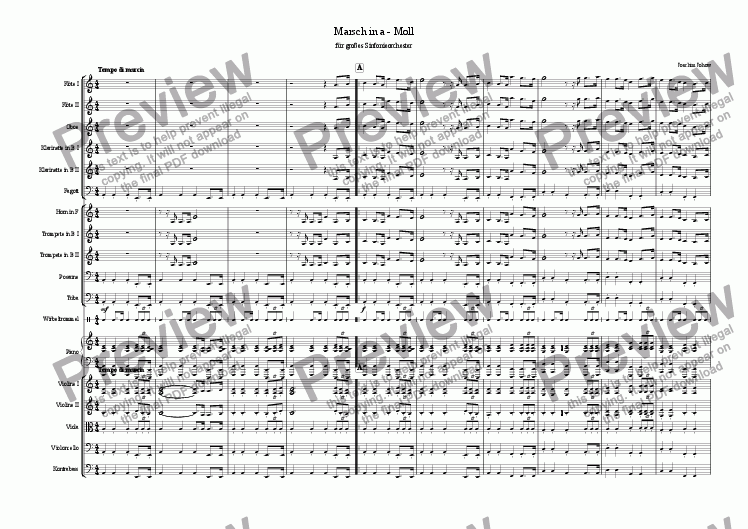 page one of March in a minor (Symphony orchestra)