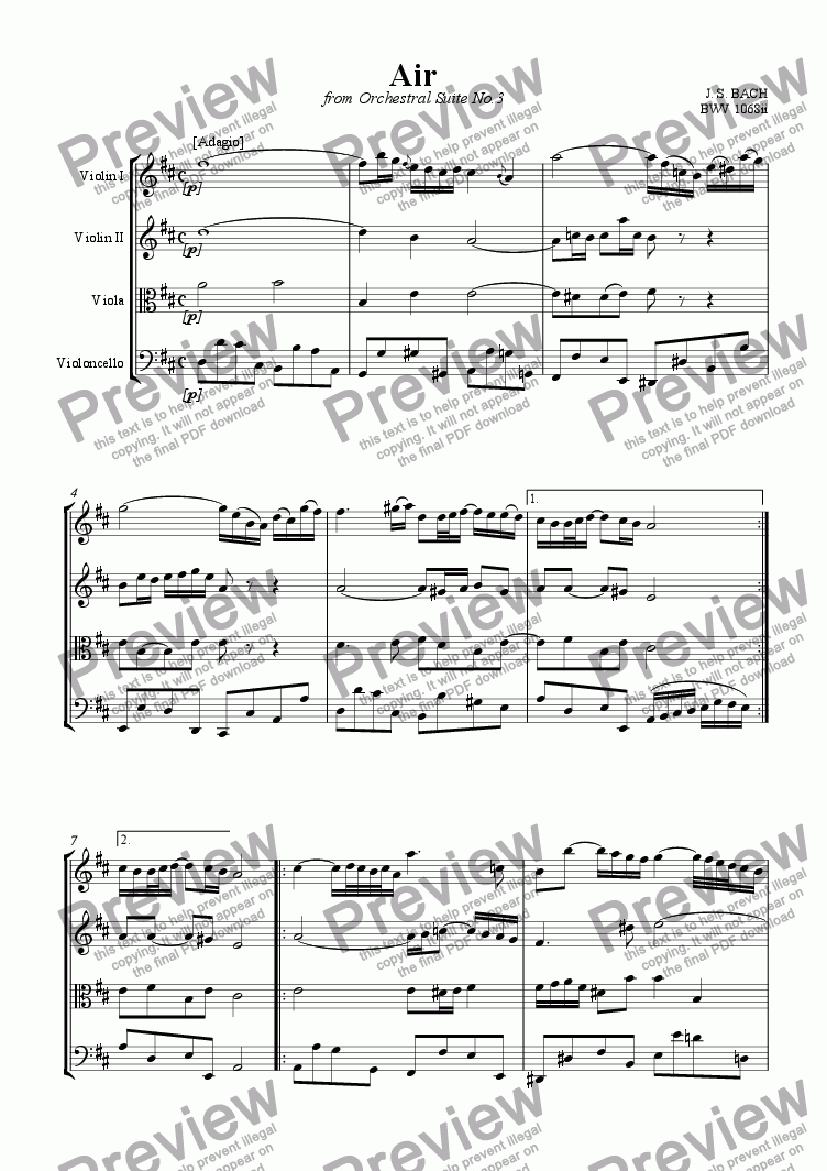 page one of Air on the G string (from Orchestral Suite No. 3)ASALTTEXT