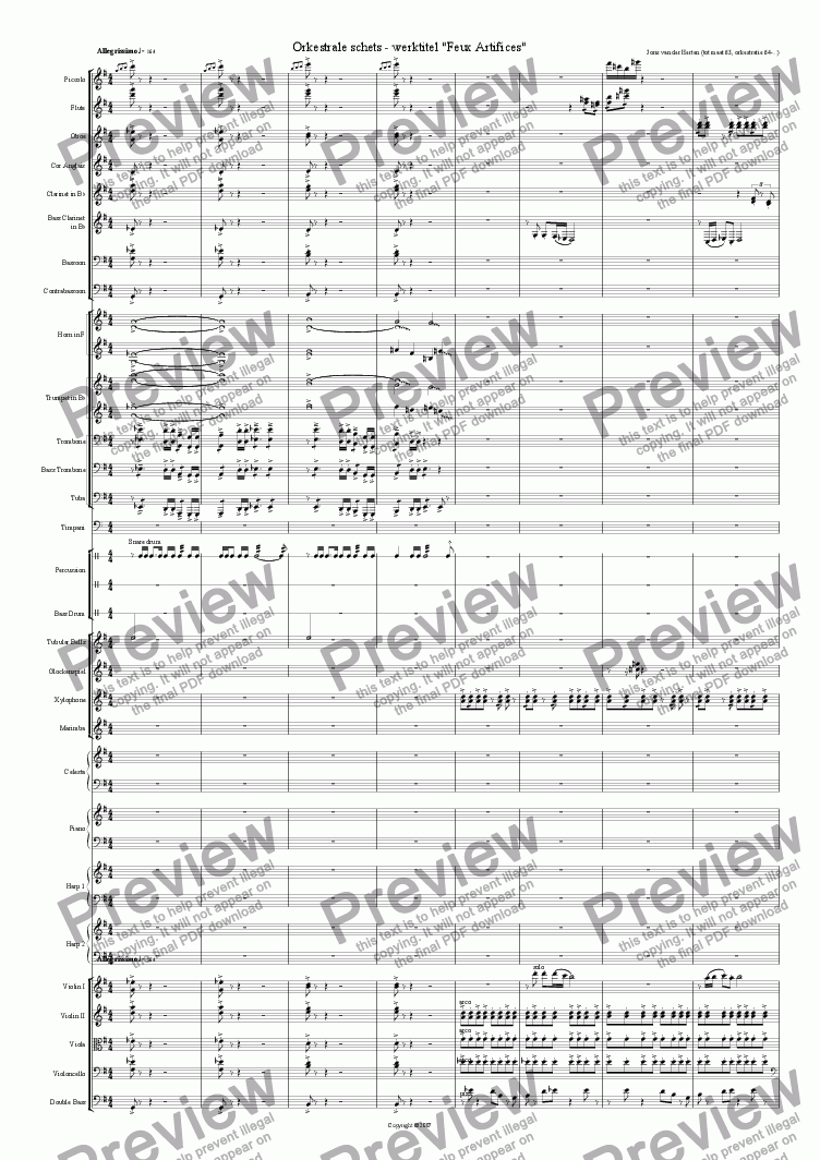 Orchestral Sketch n°1 (juvenilia, orchestra) for Orchestra by Joris van der  Herten - Sheet Music PDF file to download