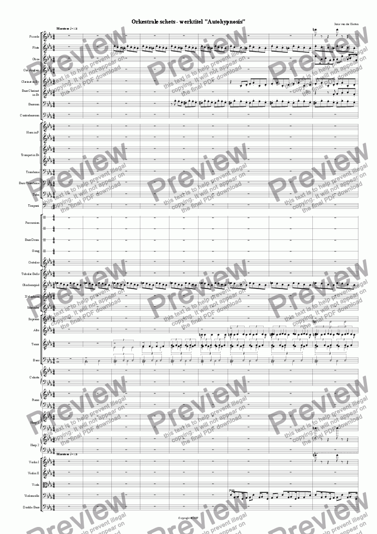 page one of Orchestral Sketch n°2 (juvenilia, orchestra)