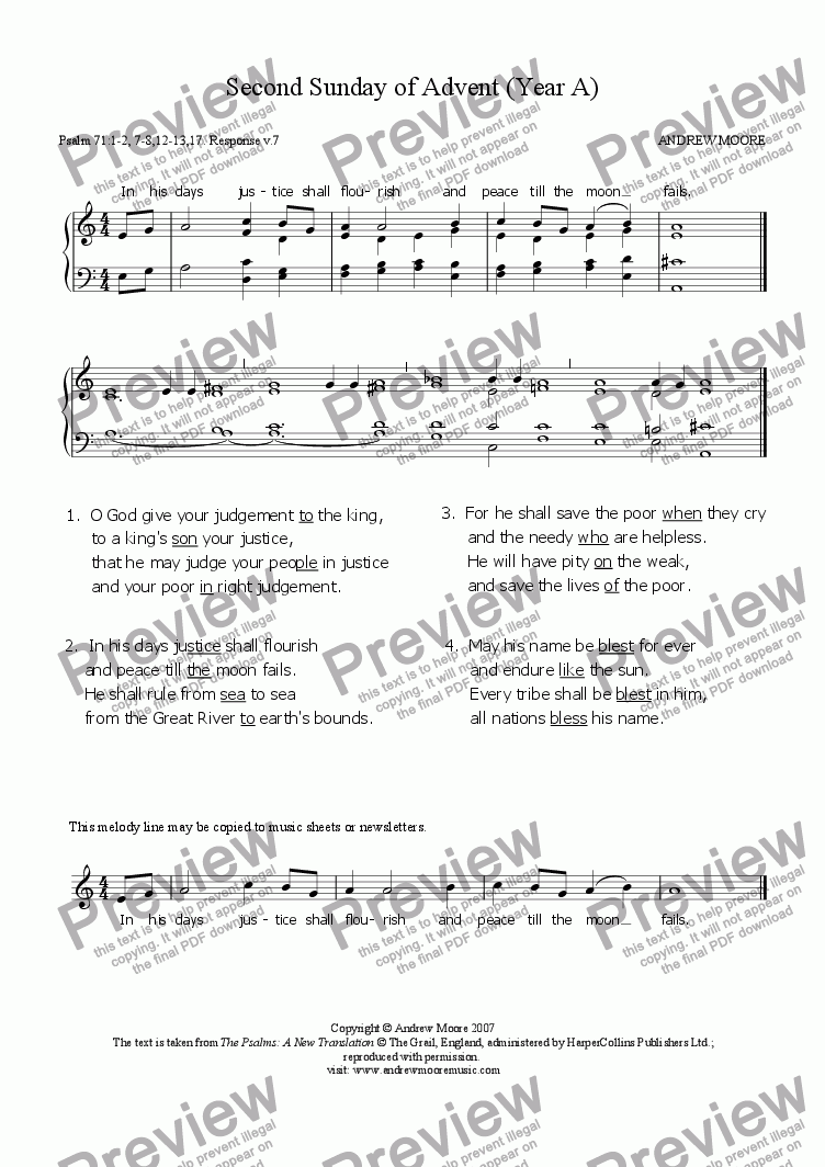 page one of Second Sunday of Advent (Year A)
