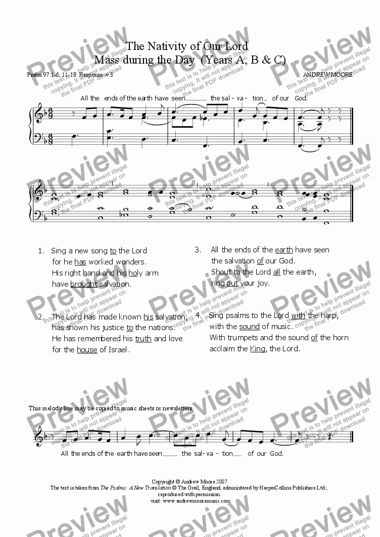 page one of The Nativity of Our Lord - Mass during the Day (Year A)