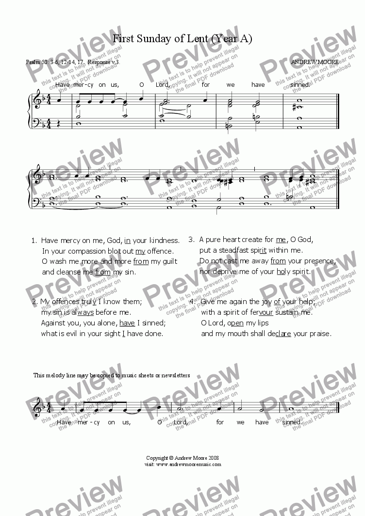 page one of First Sunday of Lent (Year A)