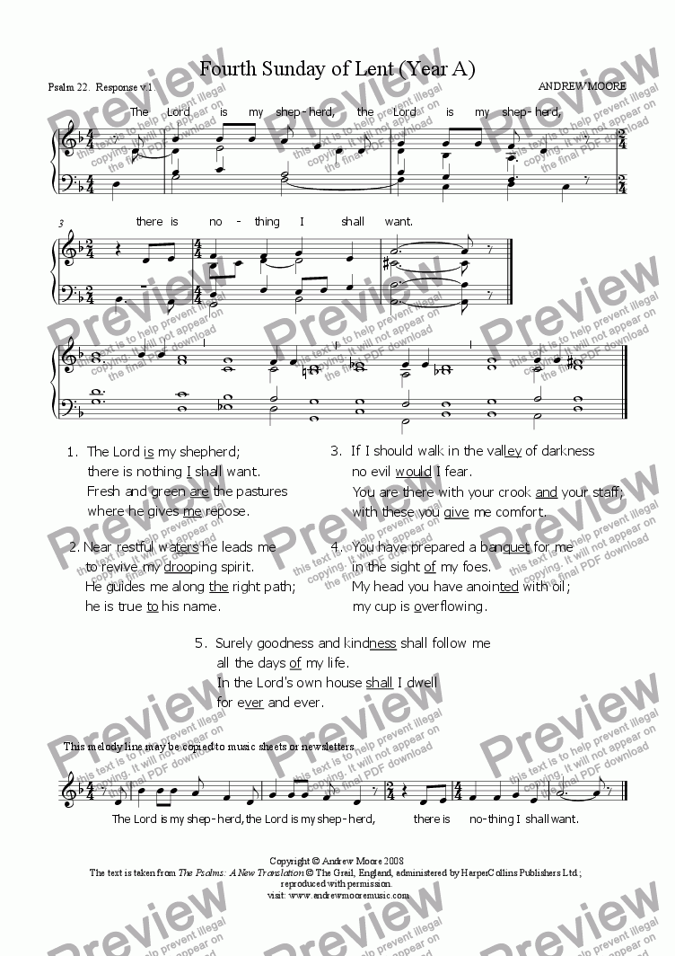 page one of Fourth Sunday of Lent (Year A)