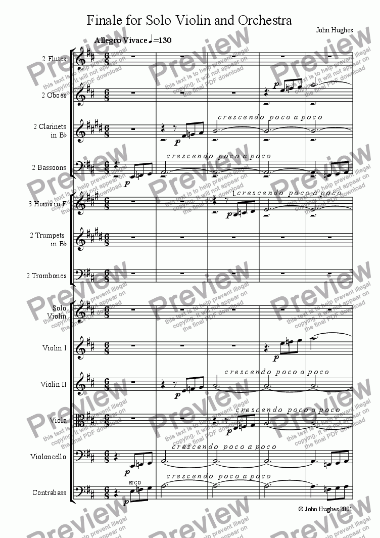 page one of Finale for Solo Violin and Orchestra