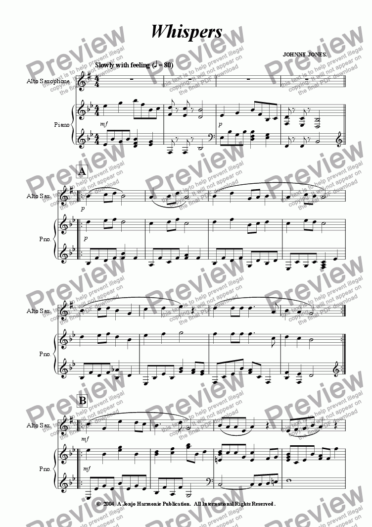 page one of Whispers   (Alto Sax and Piano)