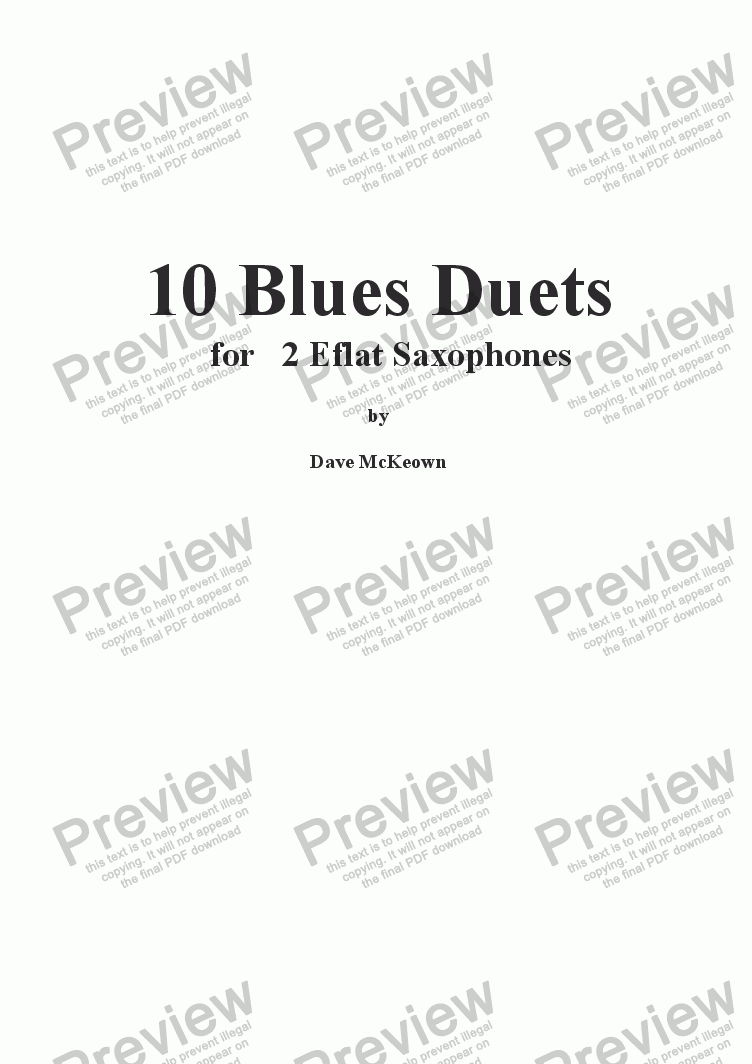 page one of 10 Blues Duets for Alto Saxophone
