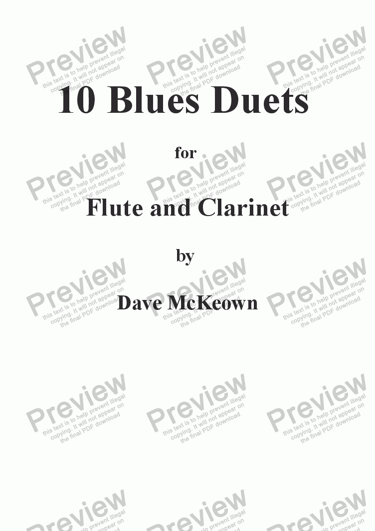 page one of 10 Blues Duets for Flute and Clarinet