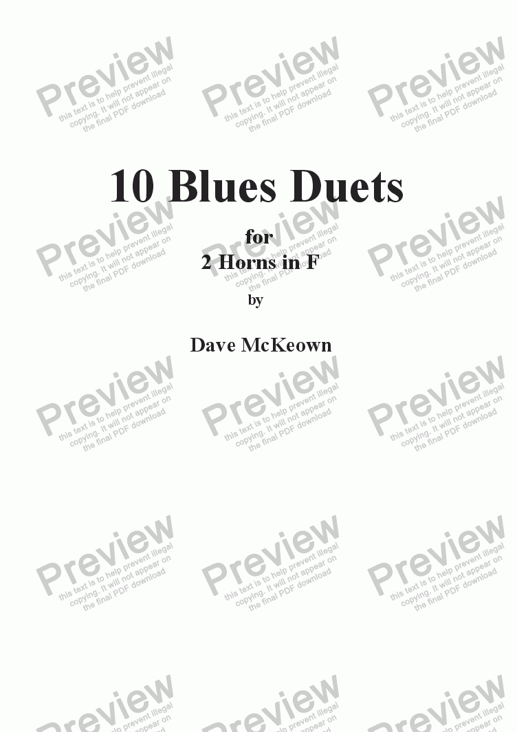 page one of 10 Blues Duets for Horn in F