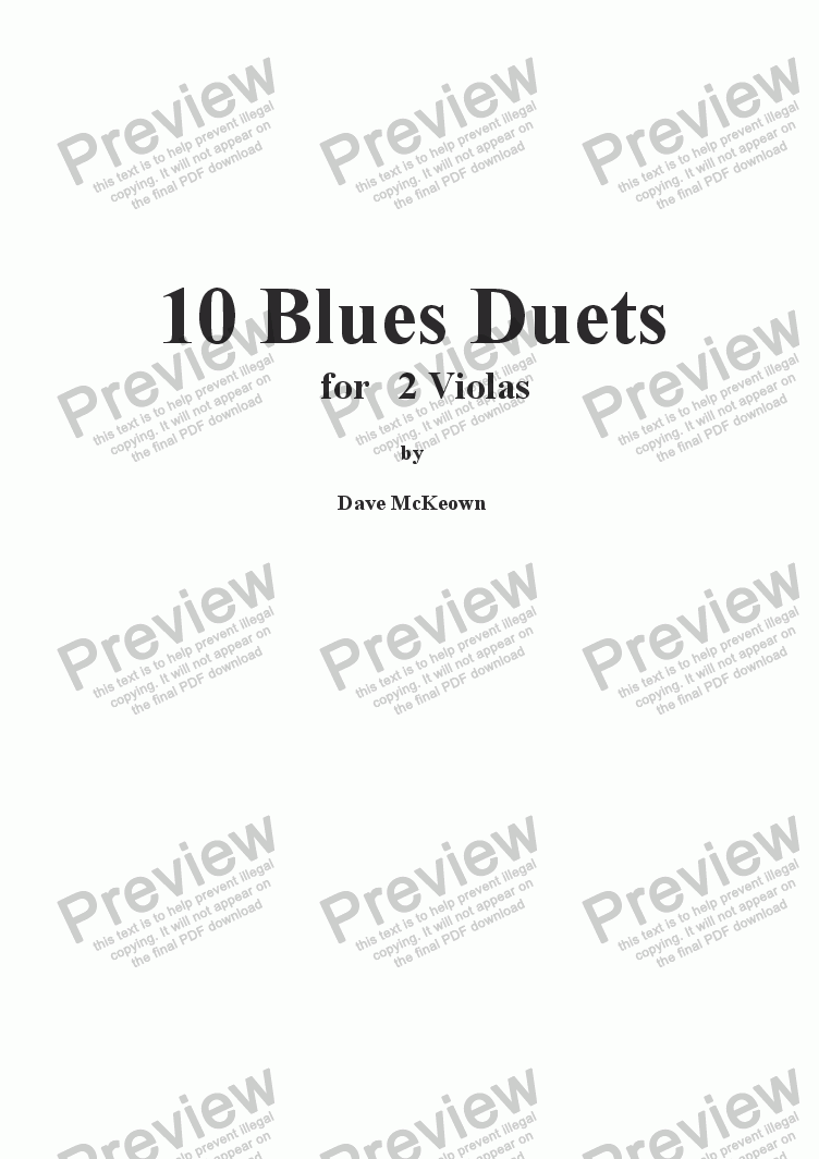 page one of 10 Blues Duets for Viola