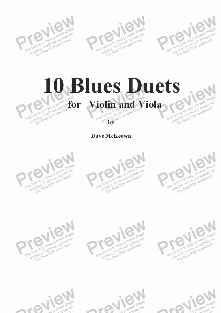 page one of 10 Blues Duets for Violin and Viola