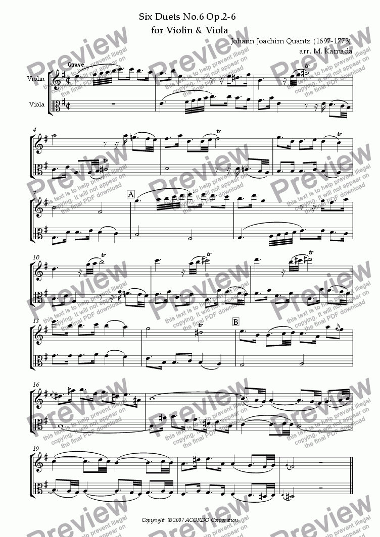 page one of Six Duets No.6 Op.2-6 for Violin & Viola