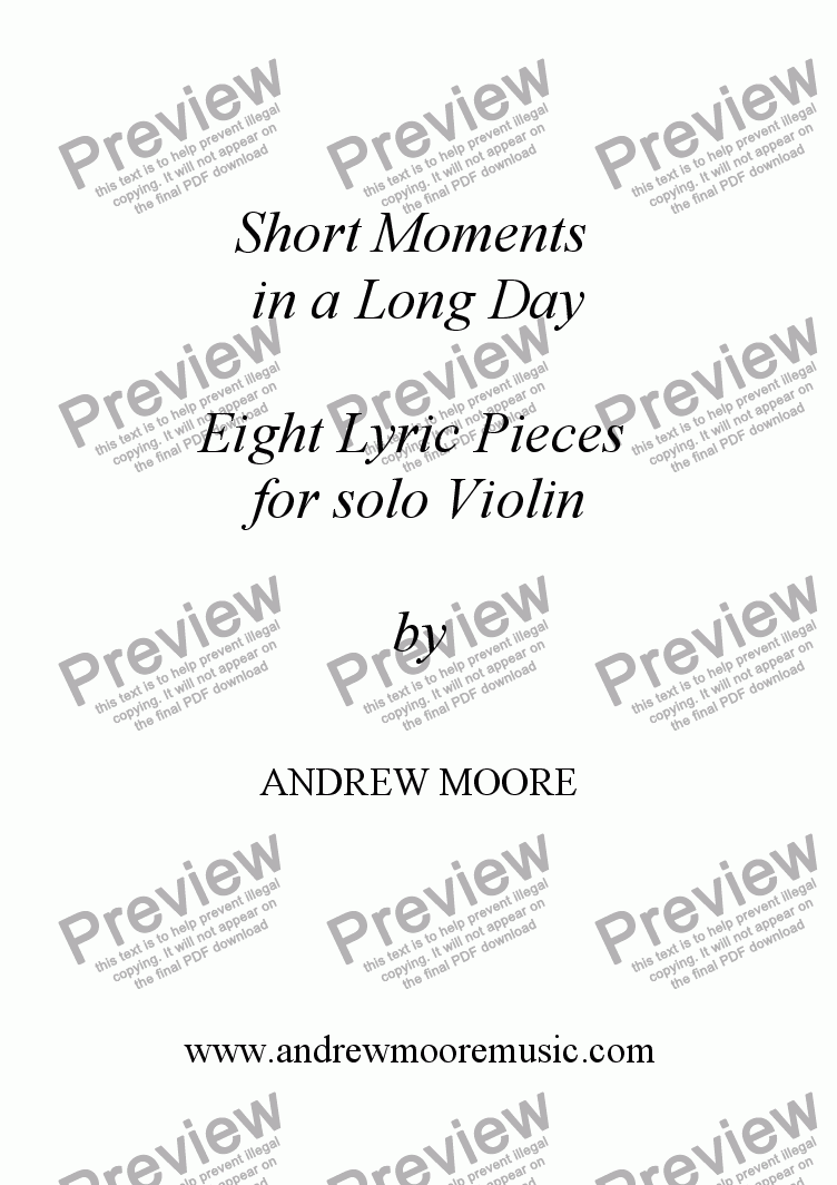 page one of 'Short Moments in a Long Day' Eight Lyric pieces for solo violin