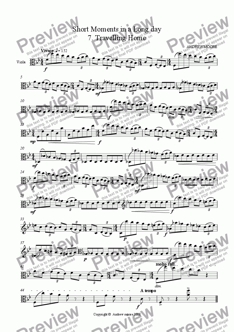 page one of Short Moments in a Long Day No 7 'Travelling Home' for solo viola