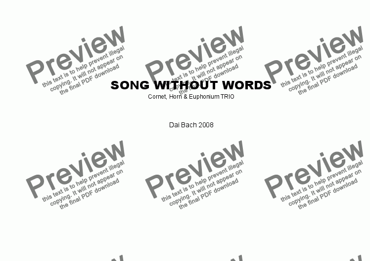 page one of Song without Words (Trio)