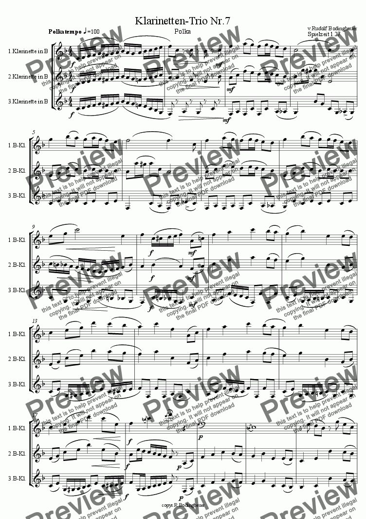 page one of Klarinetten Trio Nr.7ASALTTEXT