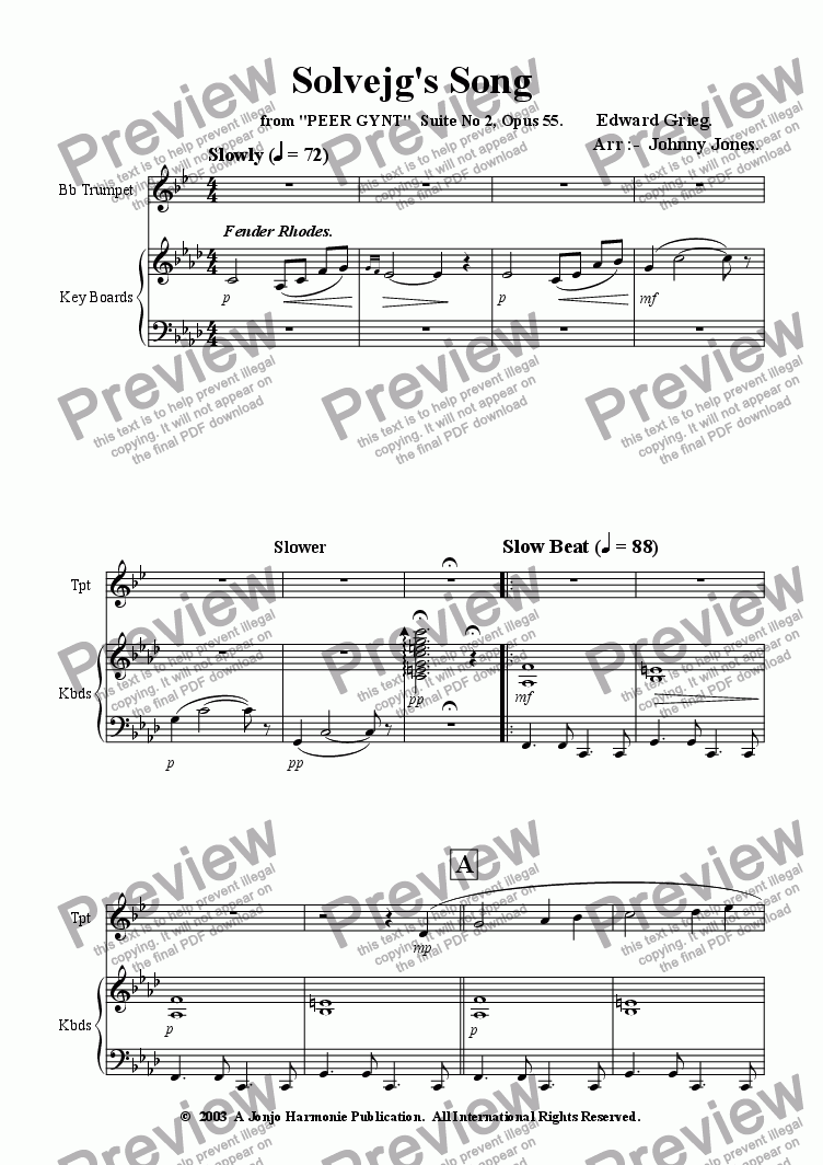 page one of Solveg's Song  ( Slow Beat and Jazz Waltz )