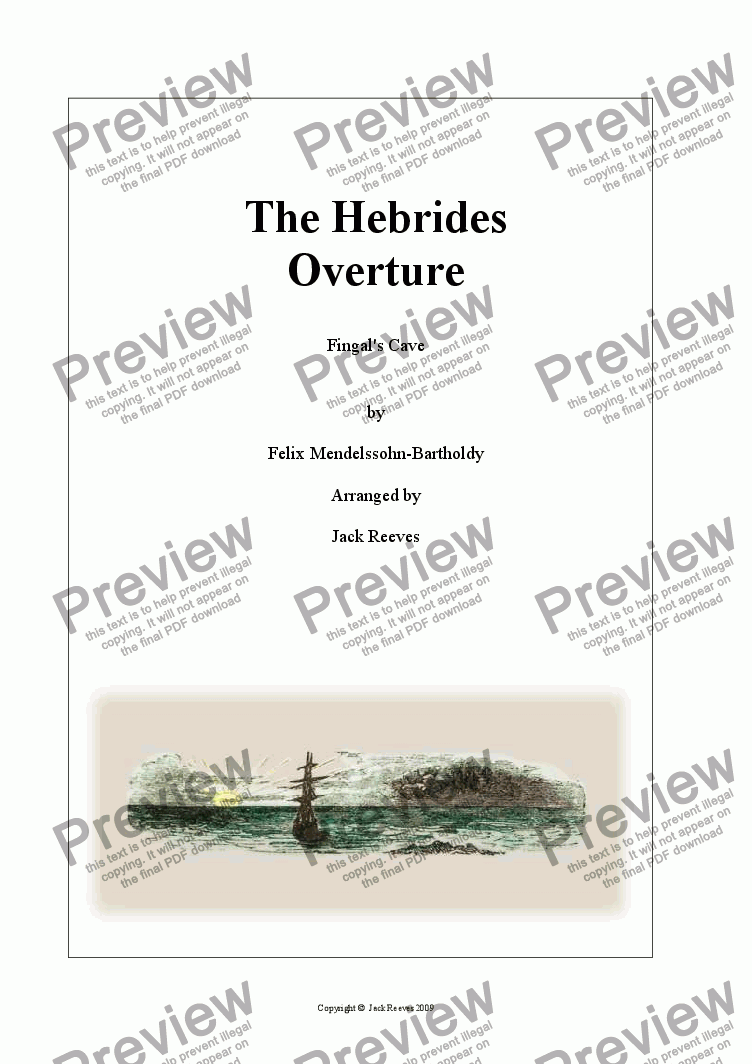 page one of Hebrides Overture (Fingal's Cave) - Brass Band - Easier Key