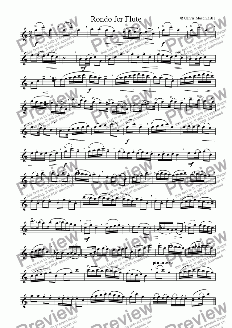 page one of Rondo for unaccompanied Flute