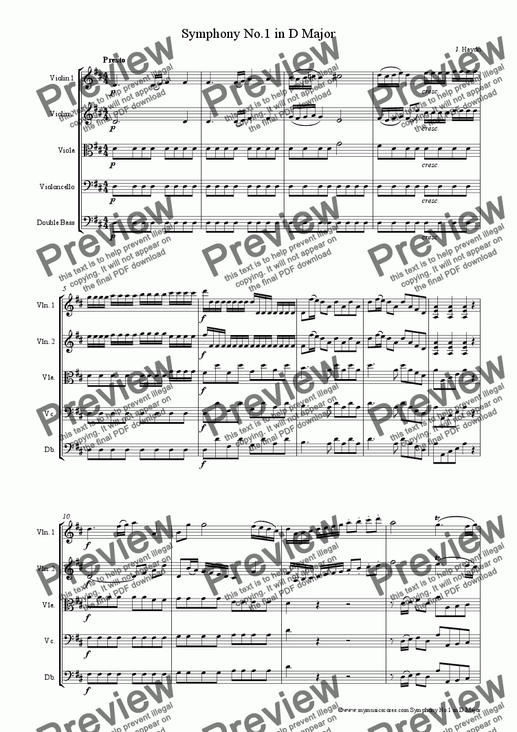 page one of Haydn Symphony No.1 arranged for String Orchestra