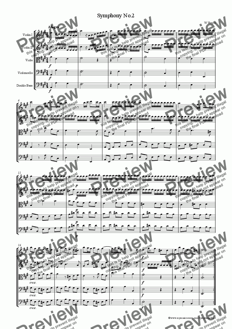 page one of Boyce Symphony No.2 for String OrchestraASALTTEXT
