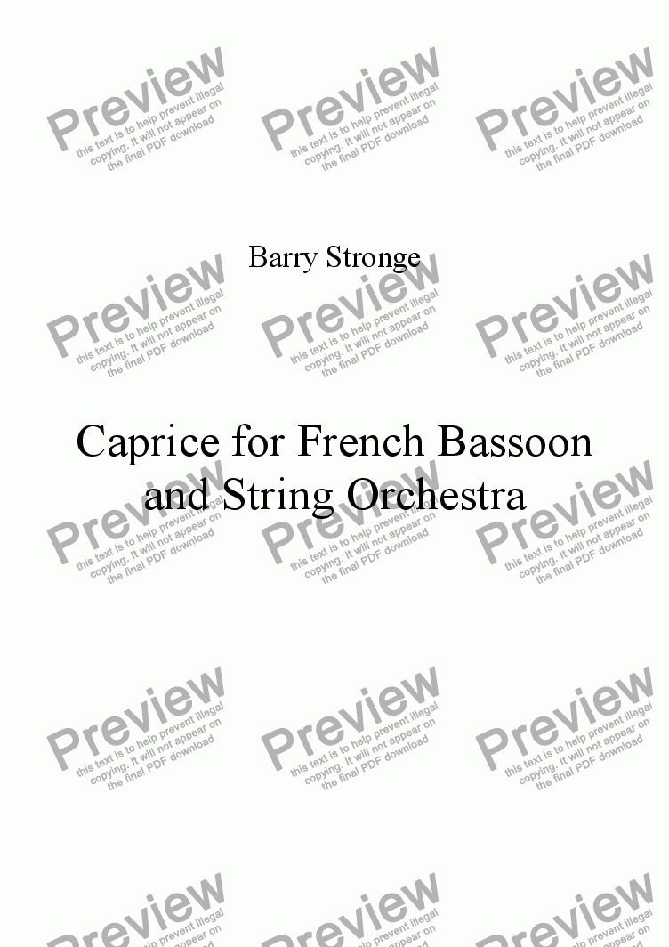 page one of Caprice for French Bassoon and String Orchestra