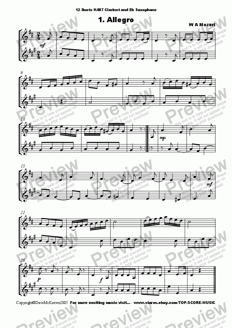 page one of 12 Mozart Duets for Clarinet and Alto SaxophoneASALTTEXT