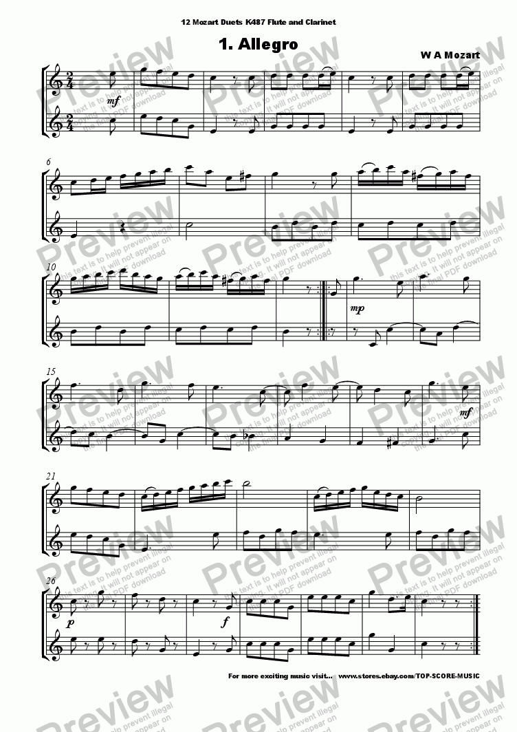 12 mozart duets for flute and clarinet - download sheet music pdf file  score exchange