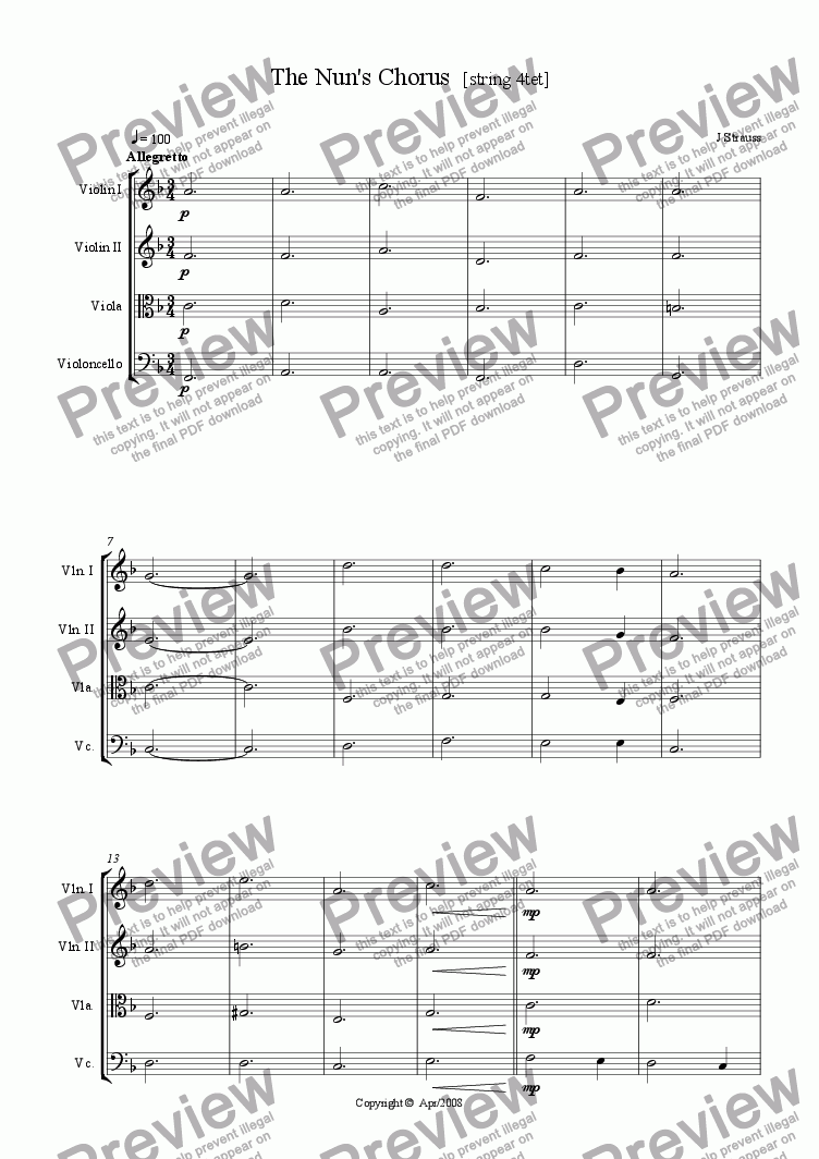 page one of The Nun's Chorus [String 4tet]ASALTTEXT