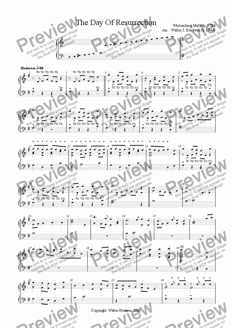 page one of The Day Of Resurrection (Hand bells: D4 -C7)