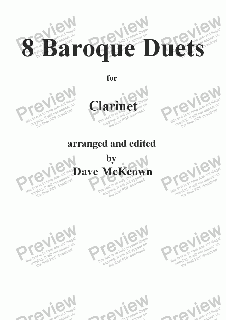 page one of 8 Baroque Duets for Clarinet