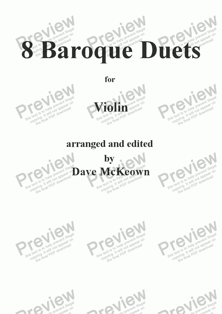 page one of 8 Baroque Duets for Violin