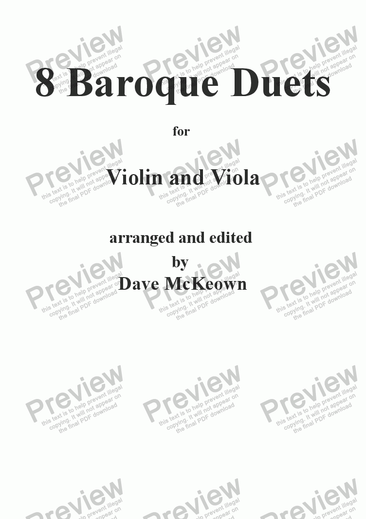 page one of 8 Baroque Duets for Violin and ViolaASALTTEXT