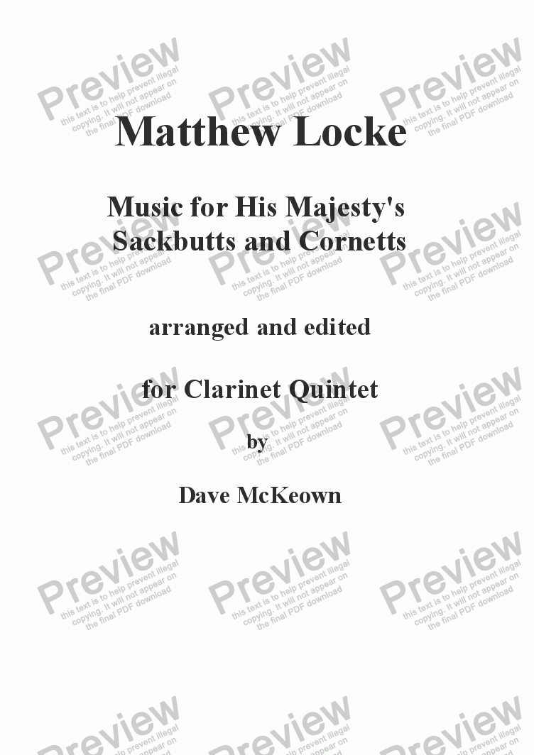 page one of Matthew Locke, Music for His Majesty's Sackbutts and Cornetts for Clarinet Quintet
