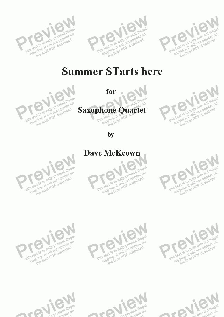 page one of Summer Starts Here, for Saxophone Quartet