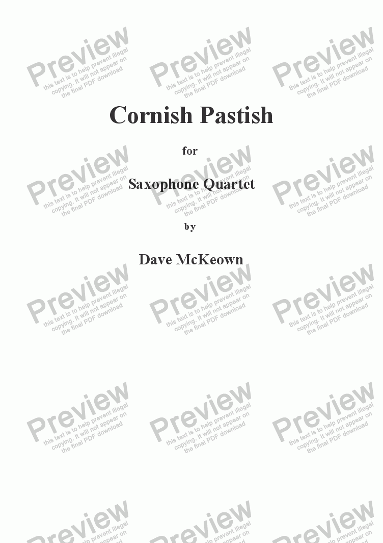 page one of Cornish Pastish for Saxophone Quartet