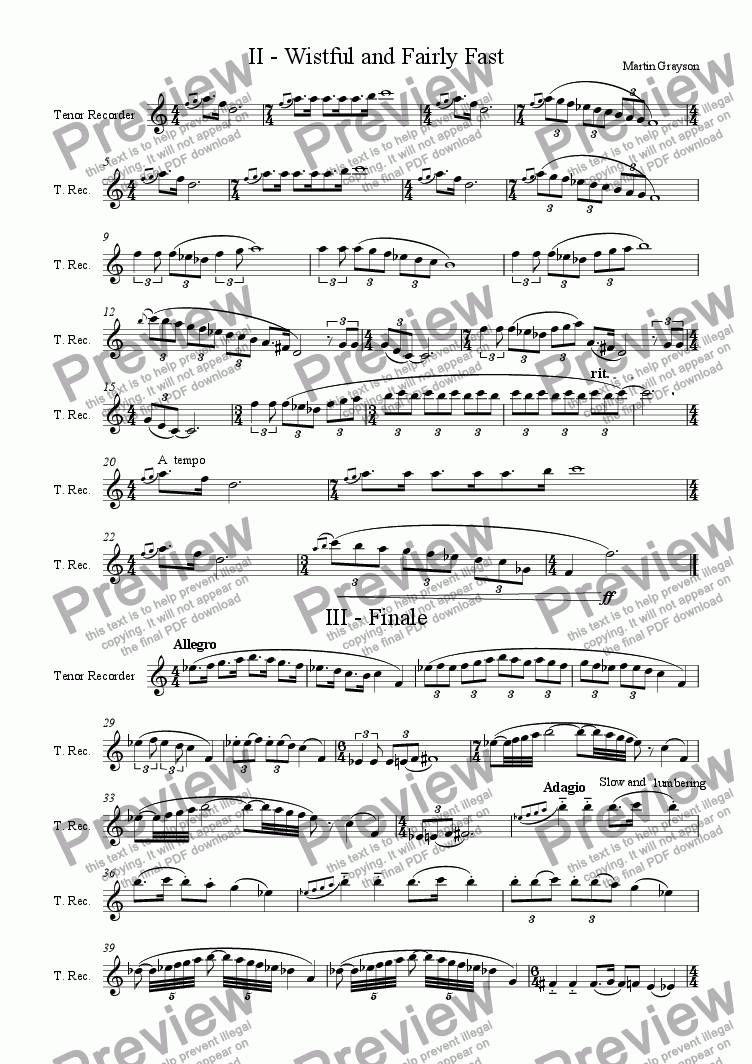page one of Sonata for Recorder or Other Melody Instrument No. 3 - Final two movements