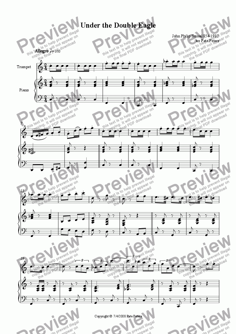 page one of Under the Double Eagle [Trumpet version]